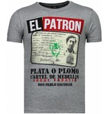 Local Fanatic El Patron Narcos Billionaire - Strass T-shirt - Grau