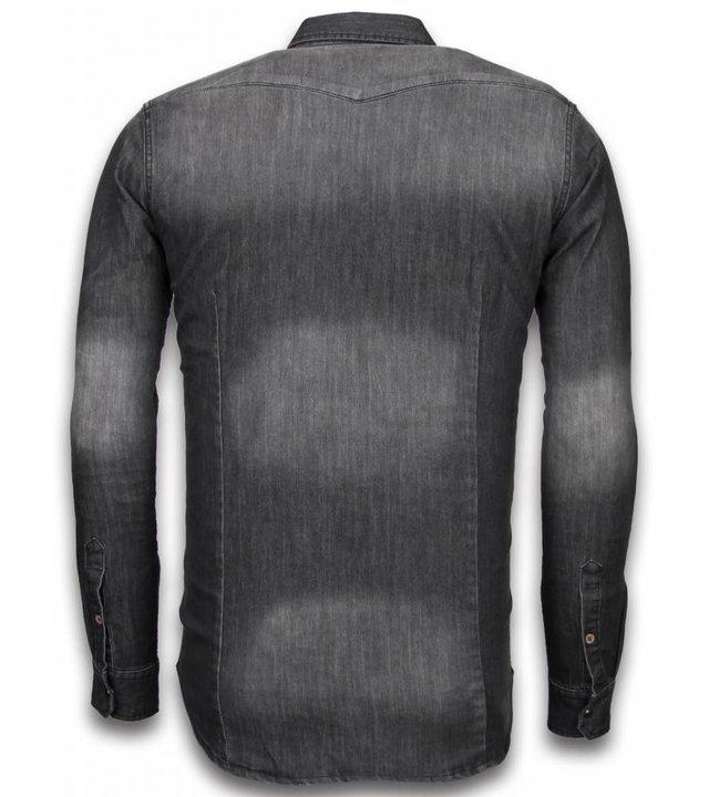 Bread & Buttons Jeanshemd Herren - Slim Fit Long Sleeve - 3 Buttons - Grau