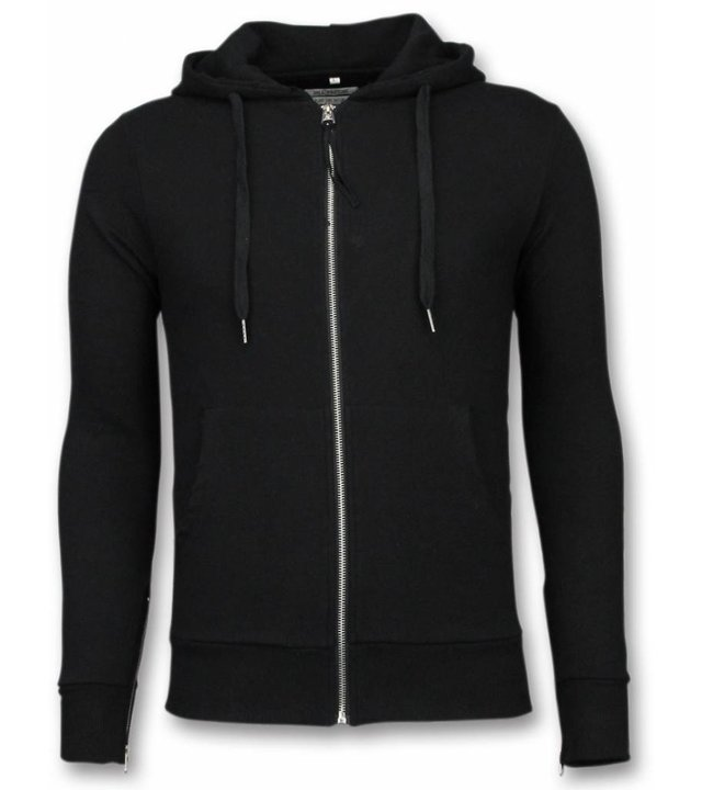 Bread & Buttons Casual Hoodie - Sweater Herren Side Zippers - Schwarz
