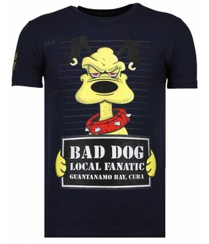 Local Fanatic Bad Dog - Strass T-shirt - Blau
