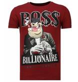 Local Fanatic Billionaire Boss - Strass T-shirt - Bordeaux
