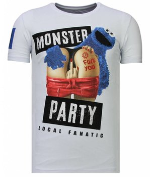 Local Fanatic Monster Party - Strass T-shirt - Weiß