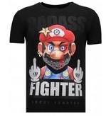 Local Fanatic Fight Club Mario - Strass T-shirt - Schwarz