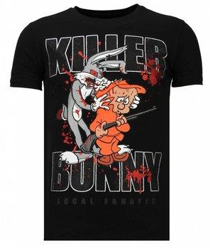 Local Fanatic Killer Bunny - Strass T-shirt - Schwarz