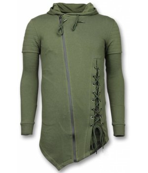 Enos Lässige Sweatjacke - Long Fit Braided Weste - Grün