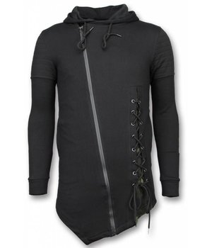 Enos Lässige Sweatjacke - Long Fit Braided Weste - Schwarz