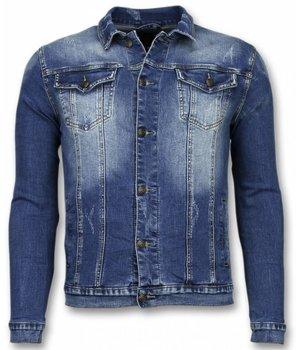 True Rise Jeansjacke- Stone Wash Jeansjacke Herren Denim Jacket - Blau