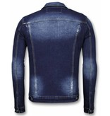True Rise Jeansjacke- Stone Wash Jeansjacke Herren Denim Jacket - Dunkel Blau