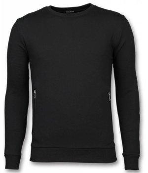 Enos Lässige Crewneck - Buttons Pullover - Schwarz