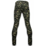 New Stone Exklusive Ripped Camo Jeans - Slim Fit Biker Jeans Camouflage - Grün