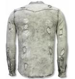 Diele & Co Jeanshemd - Slim Fit Damaged Allover - Grau