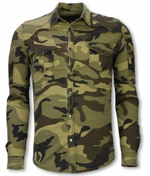 Diele & Co Biker Denim Hemd - Slim Fit Ribbed Camouflage - Grün