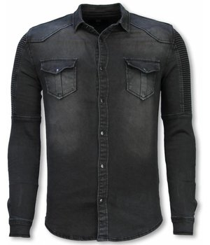 Diele & Co Biker Denim Shirt - Slim Fit Belt Stonewashed - Gray
