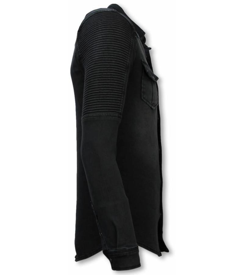 Diele & Co Biker Denim Shirt - Slim Fit Belt Stonewashed - Gray