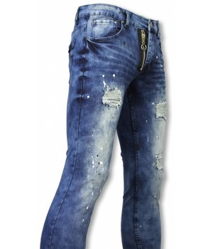 New Stone Exklusive Jeans - Slim Fit Damaged Gefälschte Zipper Jeans - Blau