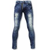 New Stone Exklusive Jeans - Slim Fit Damaged Gefälschte Zipper Jeans - Blau