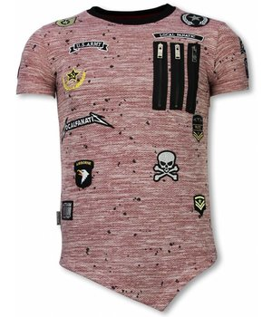 Local Fanatic Longfit Asymmetrische Stickerei - T-Shirt Aufnäher - US Army - Pink