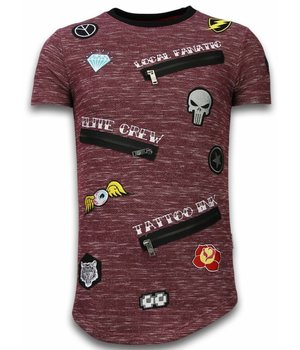 Local Fanatic Longfit Asymmetrische Stickerei - T-Shirt Patches - Elite Crew - Bordeaux