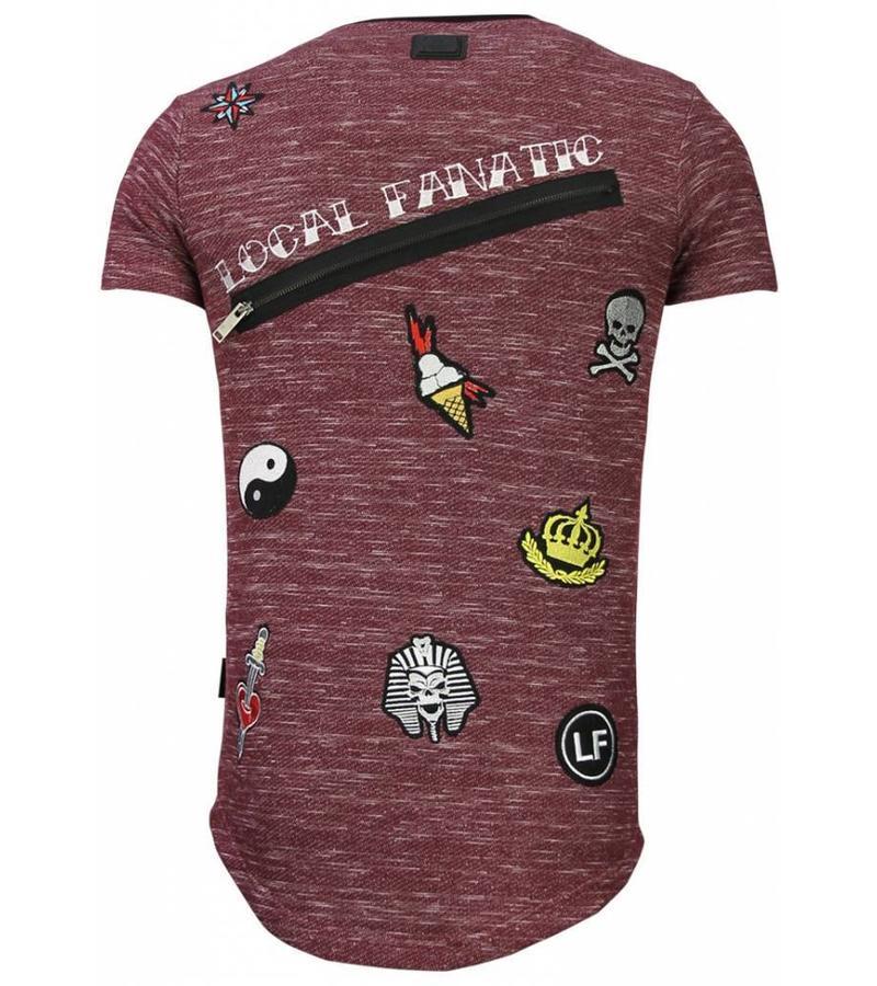 Local Fanatic Longfit Asymmetrische Stickerei - T-Shirt Patches - Elite Crew - Bordeaux