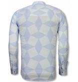 Gentile Bellini Italienische Hemden - Slim Fit Hemd - Bluse Linienmuster - Hellblau
