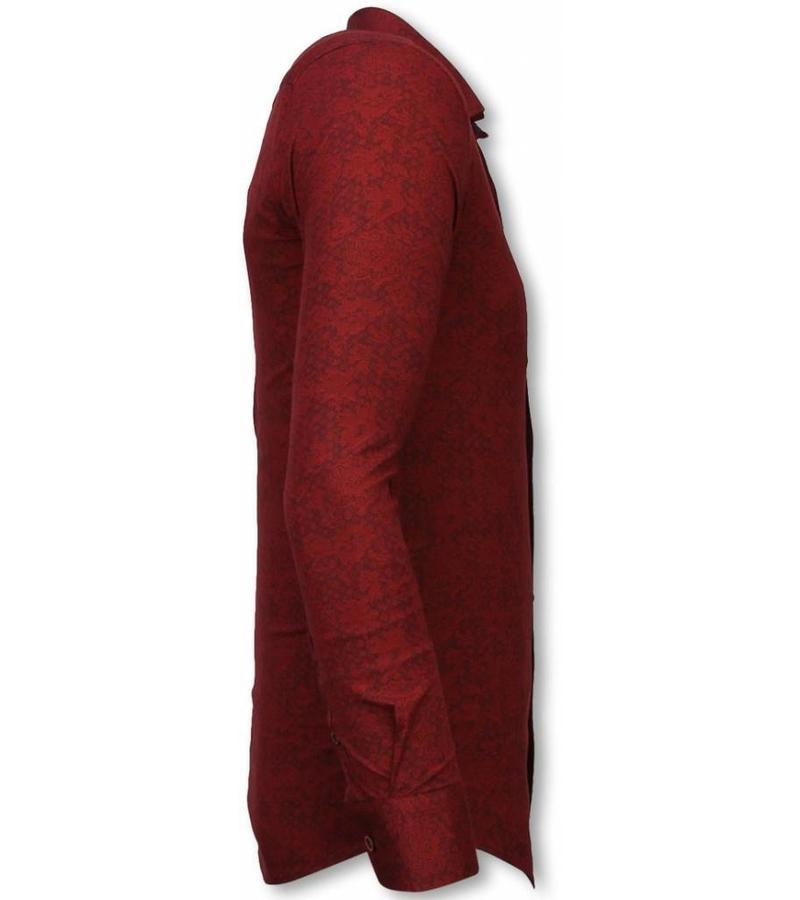 Gentile Bellini Italienische Hemden - Slim Fit Hemd - Bluse Paisley Muster - Bordeaux