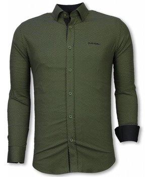 Gentile Bellini Italienische Hemden - Slim Fit Hemd - Bluse Reptile Skin Pattern - Grün