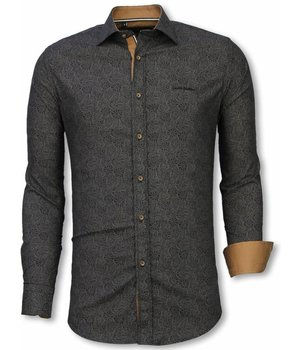 Gentile Bellini Italienische Hemden - Slim Fit Hemd - Bluse Lotus Muster - Schwarz