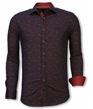 Gentile Bellini Italienische Hemden - Slim Fit Shirt - Bluse Yang Muster - Bordeaux