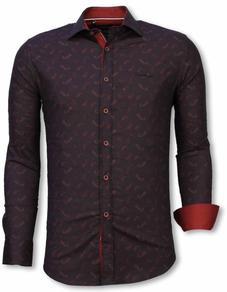 Italienische Hemden Slim Fit Shirt Bluse Yang Muster