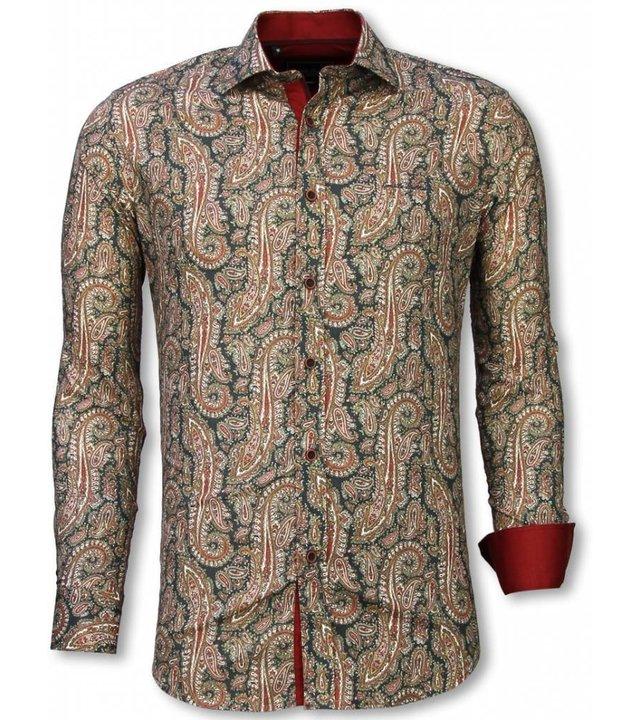 Gentile Bellini Italienische Hemden - Slim Fit Hemd - Bluse Cashemira Paisley Muster - Grün