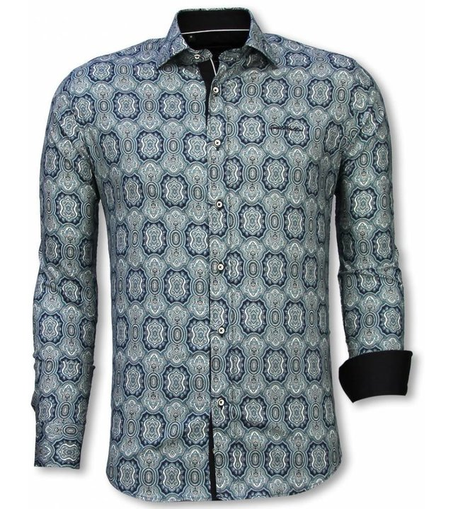 Gentile Bellini Italienische Hemden - Slim Fit Shirt - Bluse Ornament Muster - Blau