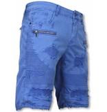 Enos Herren Kurze Hose - Slim Fit Biker Jeans Mit Reißverschlüssen - Blau