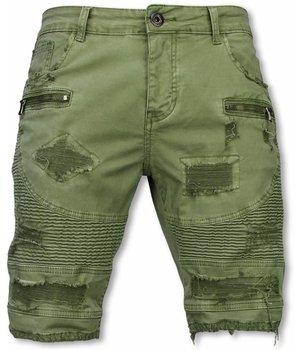 Enos Herren kurze Hosen - Slim Fit Biker Jeans mit Reißverschlüssen - Grün