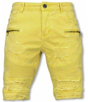 Enos Herren Kurze Hose - Slim Fit Biker Jeans Mit Reißverschlüssen - Gelb