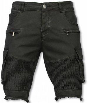 Enos Herren Kurze Hose - Slim Fit Biker Pocket Jeans - Schwarz
