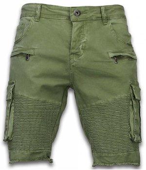 Enos Herren Kurze Hose - Slim Fit Biker Pocket Jeans - Grün