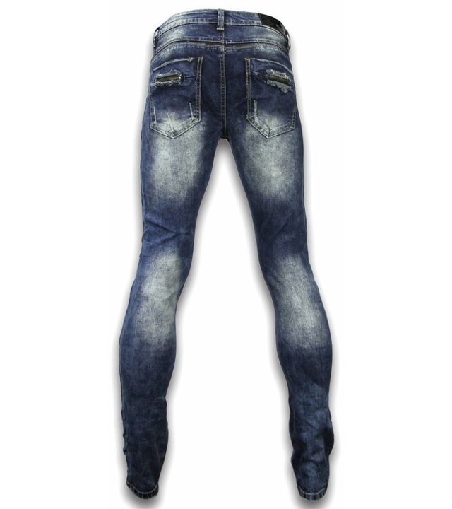 Justing Exklusive Jeans - Slim Fit Damaged Zipper Design - Blau