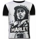 Local Fanatic Bob Marley Black And White - Digital Strass T-shirt - Schwarz