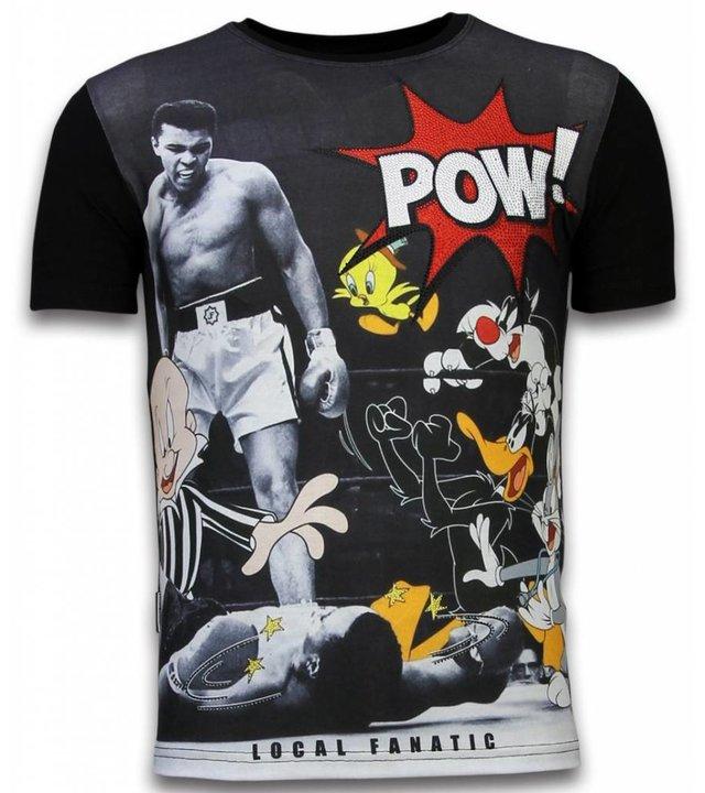 Local Fanatic Ali vs. Cartoons - Digital Strass T-shirt - Schwarz