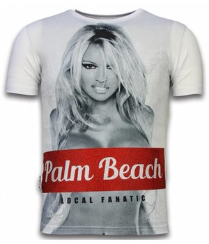 Local Fanatic Palm Beach Pamela  - Digital Strass T-shirt - Weiß