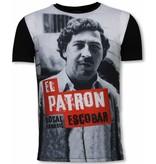 Local Fanatic El Patron Escobar - Digital Strass T-shirt - Schwarz
