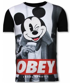 Local Fanatic Obey Mouse  - Digital Strass T-shirt - Schwarz