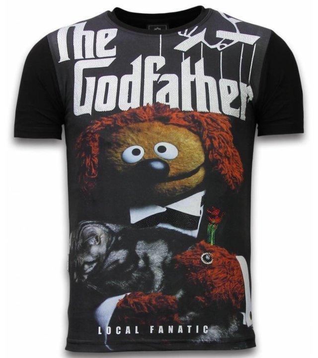Local Fanatic The Godfather Dog - Digital Strass T-shirt - Schwarz