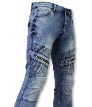 New Stone Biker Jeans Herren - Slim Fit Männer Jeans - Blau