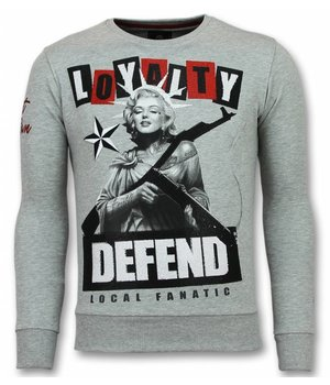 Local Fanatic Marilyn Pullover - Monroe Pullover Herren - Sweater Herren - Grau