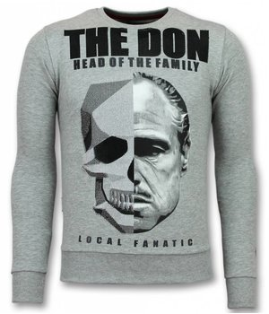 Local Fanatic Padrino Pullover - Godfather Pullover Männer - The Don - Grau