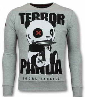 Local Fanatic Panda Grauer Pullover - Terror Sweater Herren Sale - Grau