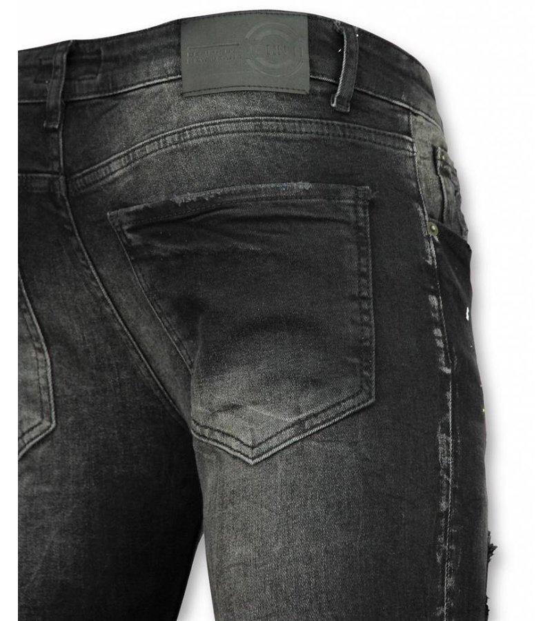 John H Herren Stretch Jeans - Jeans Herren Schwarz - Paint Drops DQ - Schwarz