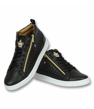 Cash Money Herren Schuhe - Herren Sneaker Jailor Black Gold - CMS98 - Schwarz