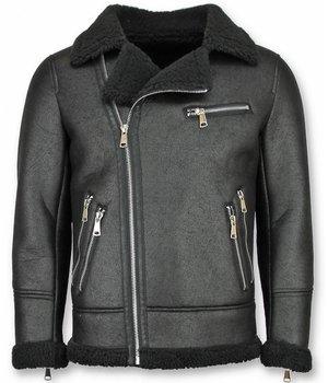 Frilivin Shearling Jacket- Lammfell Lederjacke Herren - Kunstpelz - Schwarz